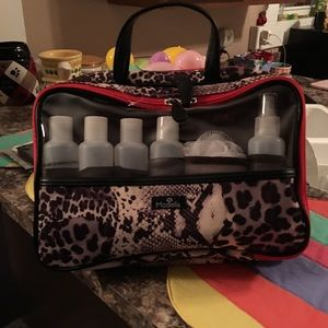 Makeup bag with bottles for shampoo hair spray.